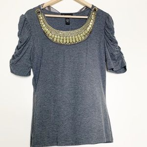 INC Grey Jeweled Collar Blouse with Rushed Sleeves